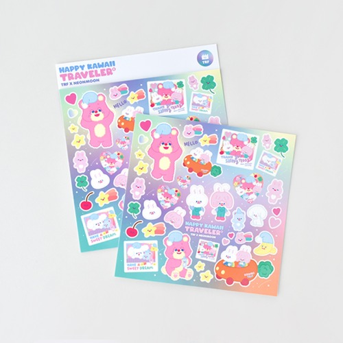 [리코더팩토리] TRF x NEONMOON STICKER - HAPPY KAWAII TRAVELER